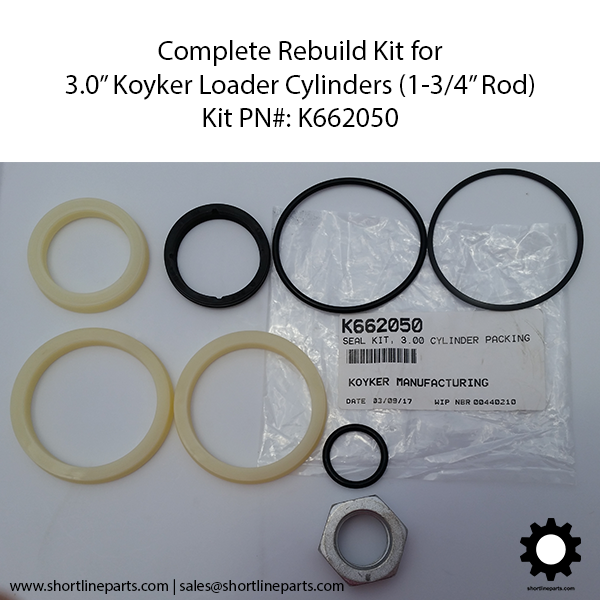 "K662050 - Rebuild Kit for 3.0"" Koyker Cylinders (1.75"" Shaft OD)"