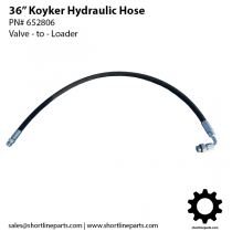"36"" Hydraulic Hose for Koyker Loaders 145, 150, 155, 160, 190, 195, 210, 220, 235, 245 - Valve to Hard Lines - 652806"
